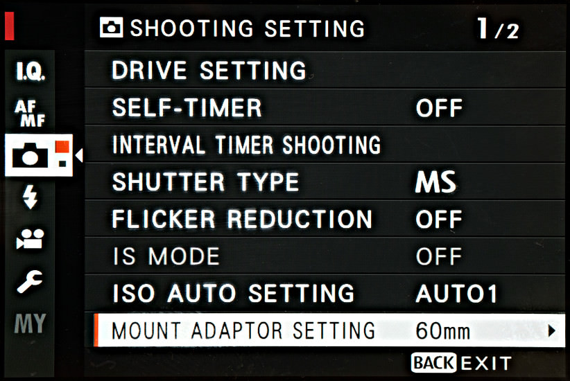 Focal length settings for manual lenses - it can be on the second page in some cameras.