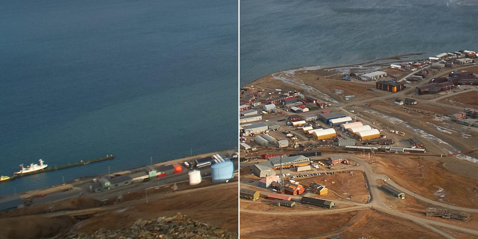 Ukázka výřezů (vlevo okraj, vpravo střed fotografie)