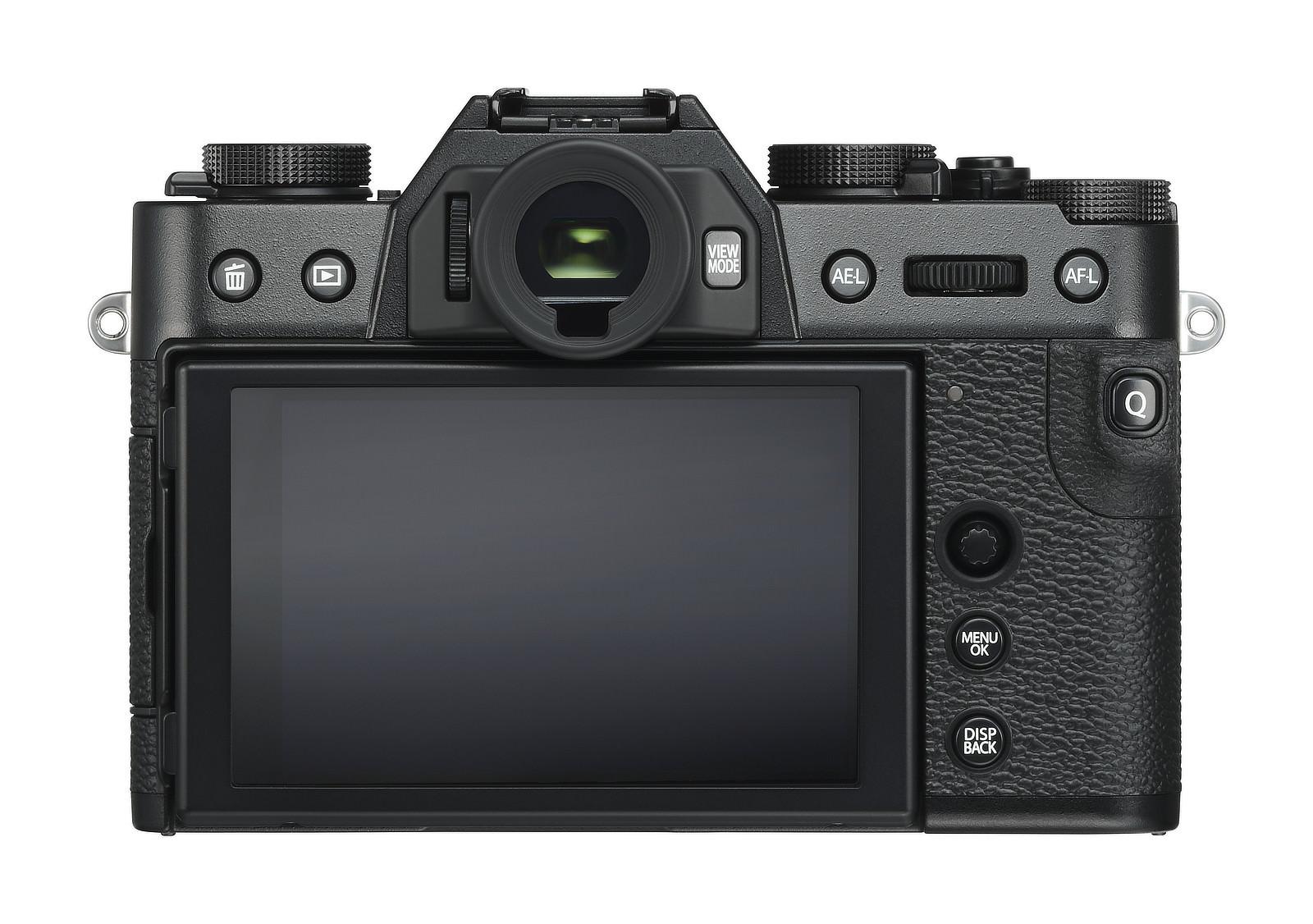 Zadní strana X-T30 s tlačítkem Q v opěrce palce. D-pad chybí, ale přidání josticku je jednoznačným pozitivem.
