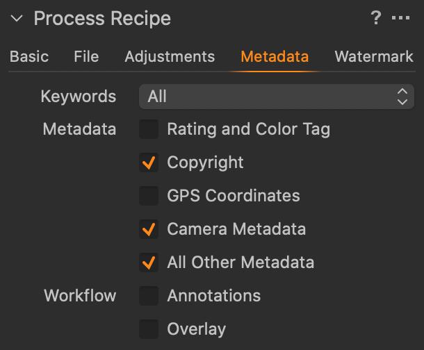 Export pro FB – záložka Metadata