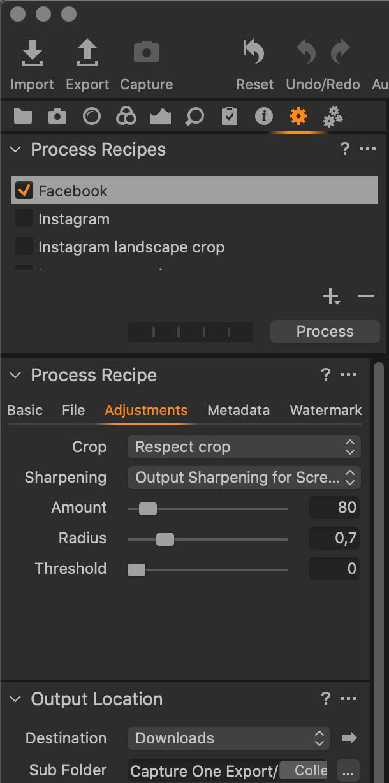 Process Recipe – doostření