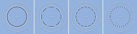 New tools cursors. From left to right: the adjustments brush, healing brush, clone stamp brush, and eraser.