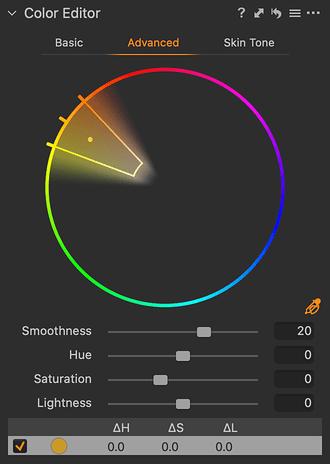 Color Editor – kapátkem lze vybrat barvu přímo z fotografie a výseč barevného kruh reprezentuje výběr