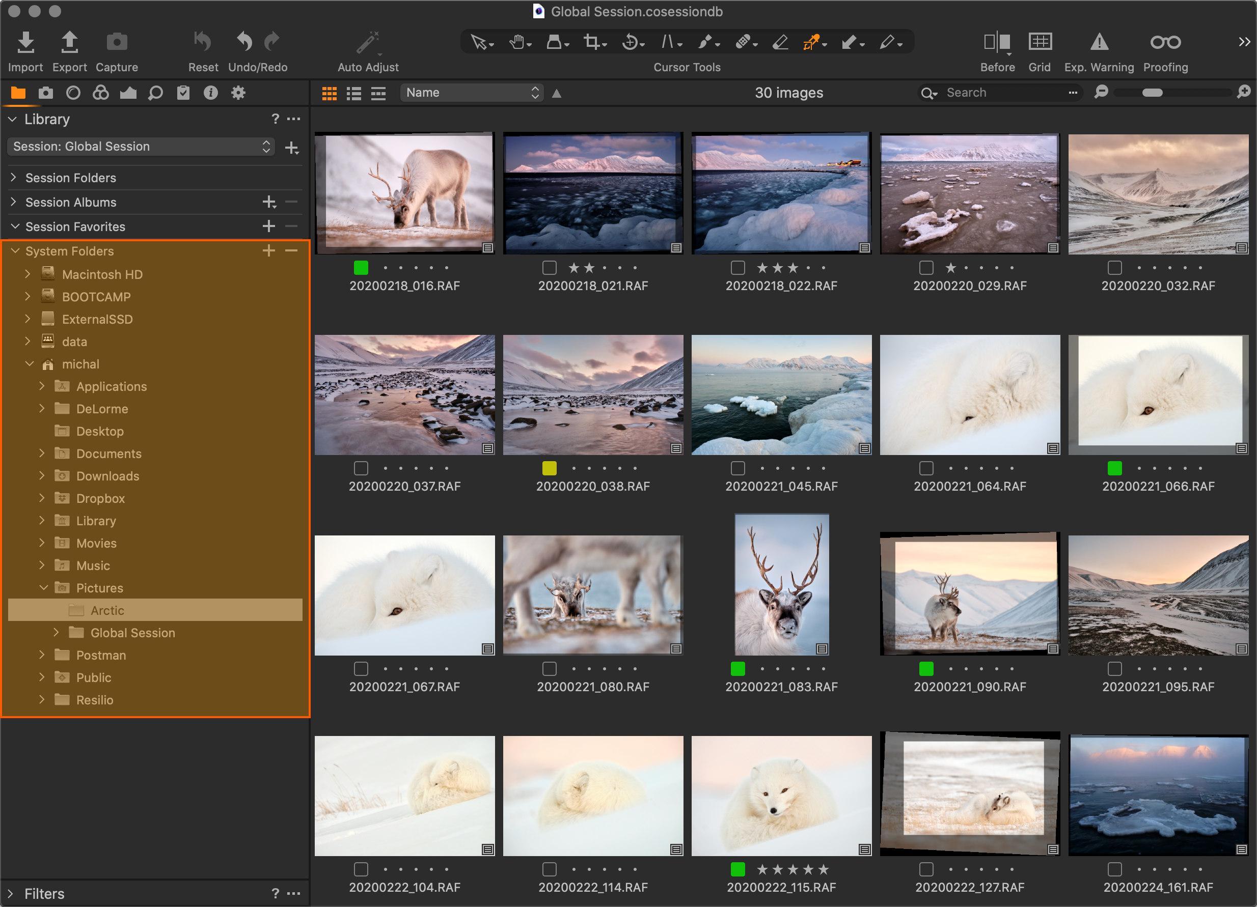 K libovolné fotografii na disku se dostanete procházením v sekci System Folders palety Library
